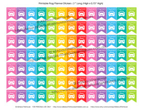 """Car Payment Planners Stickers - Flags Printable - 1"""" H x 0.75"""" W - F037"""