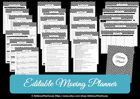 BLACK - EDITABLE - Moving Planner Binder Chevron Printable - Instant Download