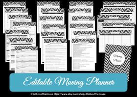 GREEN - EDITABLE - Moving Planner Binder Chevron Printable - Instant Download