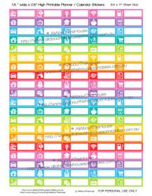 """Bills Planner Stickers - 1.5 x 0.5"""" - Rainbow"""