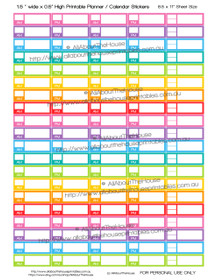 "AM PM Appointment Planner Stickers - 1.5 x 0.5"" - Rainbow - OL021"