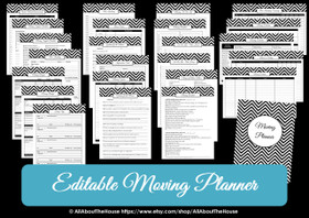 DARK BLUE - EDITABLE - Moving Planner Binder Chevron Printable - Instant Download