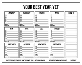FREE 16 x 20 Annual Planner Wall Calendar - can print at letter size
