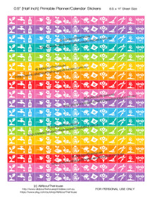 """Gardening Planner Stickers Printable - Half Inch (0.5"""") Square - Rainbow - #HIS056"""