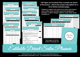 Direct Sales Planner - Printable - Blue Polka Dot - Editable - Instant Download