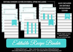 Grey Stripe & Aqua Recipe Binder - EDITABLE - INSTANT DOWNLOAD