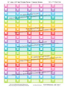 "Birthday Planner Stickers - 1.5 x 0.5"" - Rainbow - OL163"