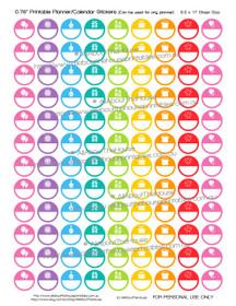 Birthday Planner Stickers - Printable Reminder - Round