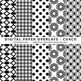 """Digital Paper Overlays - 5 Patterns - 12"""" x 12"""" and 8.5 x 11"""" (Set 15) INSTANT DOWNLOAD"""