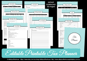 EDITABLE LIGHT BLUE Tax Planner Printables - Instant Download