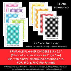 Planner Dividers Half Size Tabbed A5 Junior Arc Printable Binder Covers & tabs - Instant Download