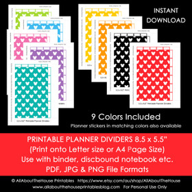 Planner Dividers Mickey Inspired Half Size Tabbed A5 Junior Arc Printable Binder Covers & tabs - Instant Download
