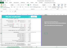 Pricing template, business form, shop spreadsheet (Excel or Google Docs)
