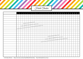 Habit Tracker - Rainbow Stripes - Monthly - Editable