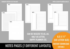 Notes Kit Printables - Black