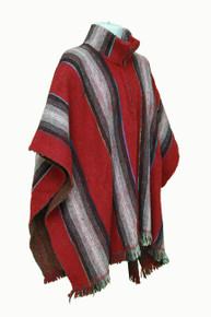 Whool Poncho Red and White 2