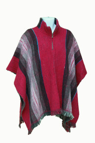 Whool Poncho Red and White