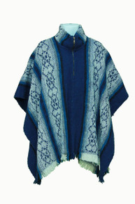 Whool Poncho Blue and White