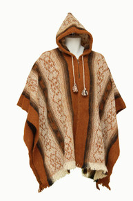 Whool Poncho Brown and cream