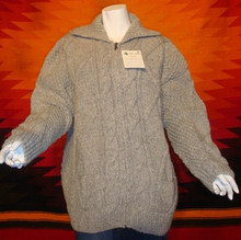 unisex grey hand-knitted wool sweaters, cardigans, zipped.