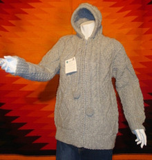 unisex grey hand-knitted wool sweaters, hoodie, zipped.