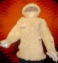 womens cream hand-knitted wool sweaters, hoodie, zipped.
