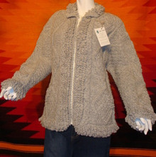 womens grey hand-knitted wool sweaters, cardigan, zipped.