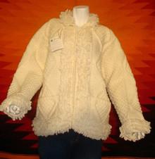 womens cream hand-knitted wool sweaters, cardigan, zipped.