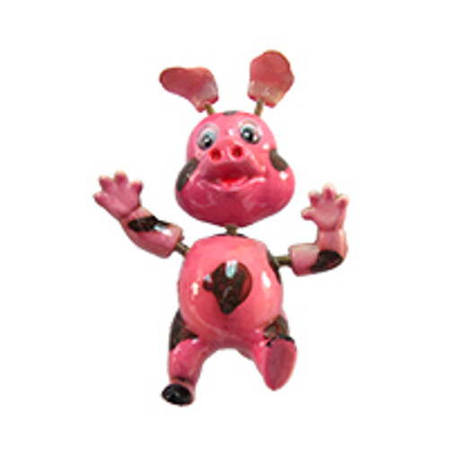 Pink Spotted Piggy Bobble Magnet