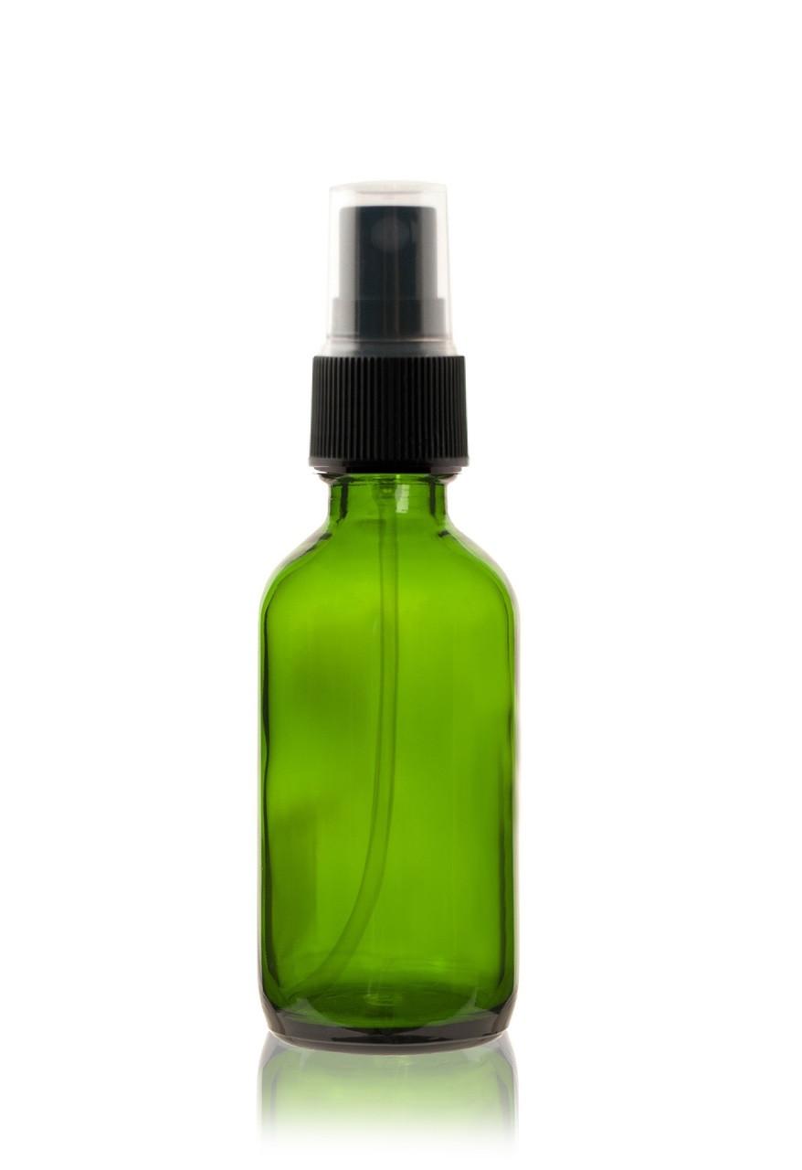 2 Oz Green Boston Round Glass Bottle W Black Fine Mist