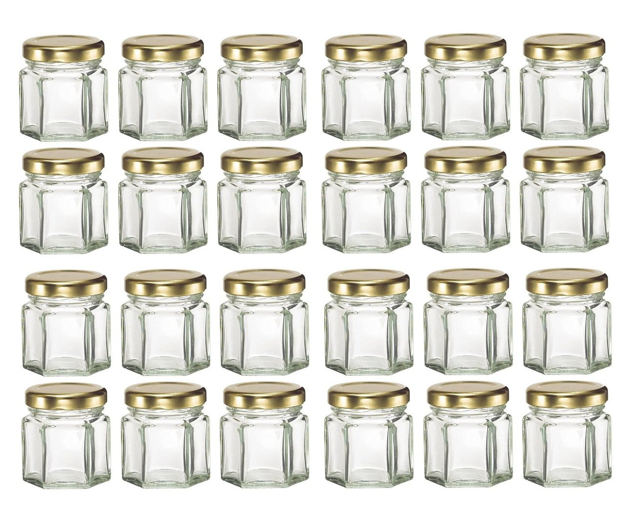 mini hexagon glass jars 1 5 oz with gold lid pack of 24. Black Bedroom Furniture Sets. Home Design Ideas