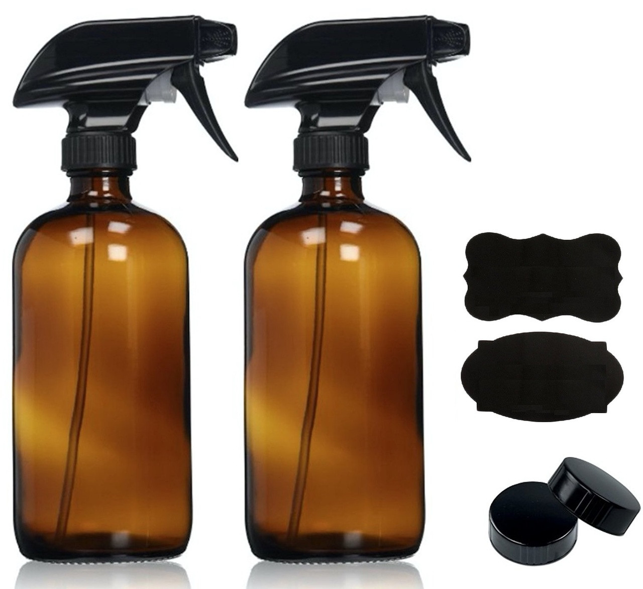 16oz 2 pack empty amber glass spray bottles with poly cone caps u0026 labels