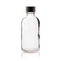 4 oz CLEAR Boston Round Glass Bottle - w/ Poly Seal Cone Cap