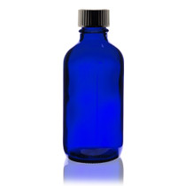 4 oz Cobalt BLUE Boston Round Glass Bottle - w/ Poly Seal Cone Cap