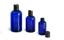 4 oz Cobalt BLUE PET Boston Round Plastic Bottle w/ Black Disc Cap