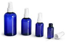4 oz Cobalt BLUE Plastic PET Boston Round Bottle w/ White Fine Mist Spray