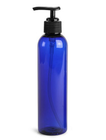 8 oz Cobalt BLUE PET Cosmo Plastic Bottle w/ Black Lotion Pump