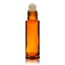 1/3 oz (10ml) Amber Glass Roll on Bottles -pack of 6