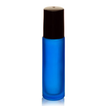 1/3 oz (10ml) FROSTED BLUE Glass Roll on Bottles with Black Cap and Plastic Roller Ball