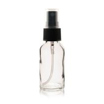 1 oz CLEAR Boston Round Glass Bottle - w/ Black Fine Mist Sprayer
