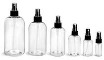 2 oz Clear PET Boston Round Plastic Bottle - w/ Black Fine Mist Sprayer