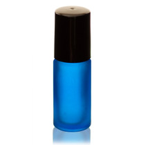 1/6 oz (5ml) FROSTED BLUE Glass Roll-on Bottle with Black Cap and Plastic Roller Ball