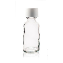 1 oz (30ml) CLEAR Boston Round Glass Bottle w/ White Child Resistant Cap (as low as $0.33)