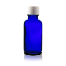 1 oz (30ml) Cobalt BLUE Boston Round Glass Bottle with Child Resistant Cap