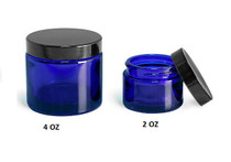 4 oz Cobalt BLUE GLASS Jar Straight Sided w/ Plastic Lined Caps