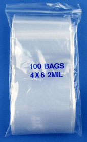 "4"" x 6"", 2 Mil Reclosable Clear Ziplock Poly Bags, Pack of 1000"
