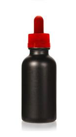 1 oz Specialty Volcanic Black Boston Round w/ Red Child Resistant Dropper (Non-Transparent)