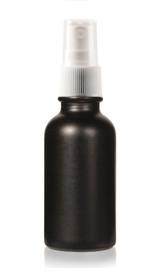 1 Oz Specialty Volcanic Black Boston Round w/ White Fine Mist Sprayer (Non-Transparent)