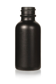 1 Oz Specialty Volcanic Black Boston Round w/ White Fine Mist Sprayer