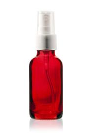 1 Oz Specialty Translucent Red Boston Round w/ White Fine Mist Sprayer (Gloss Finish)